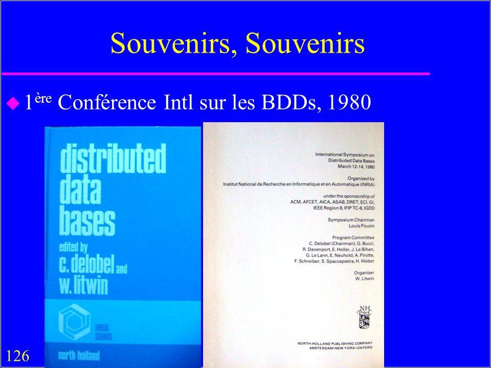 126 Souvenirs, Souvenirs u 1 ère Conférence Intl sur les BDDs, 1980