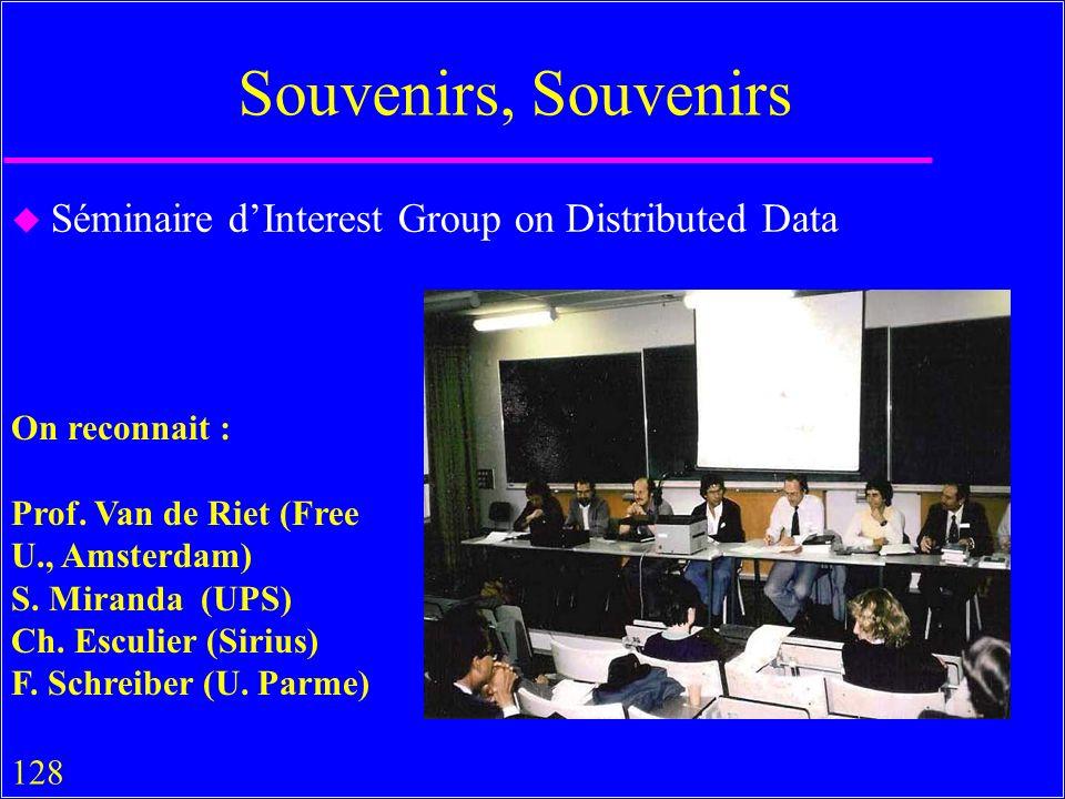 128 Souvenirs, Souvenirs u Séminaire dInterest Group on Distributed Data On reconnait : Prof.