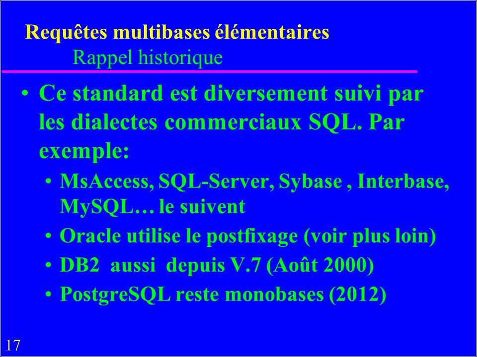 17 Requêtes multibases élémentaires Rappel historique Ce standard est diversement suivi par les dialectes commerciaux SQL.