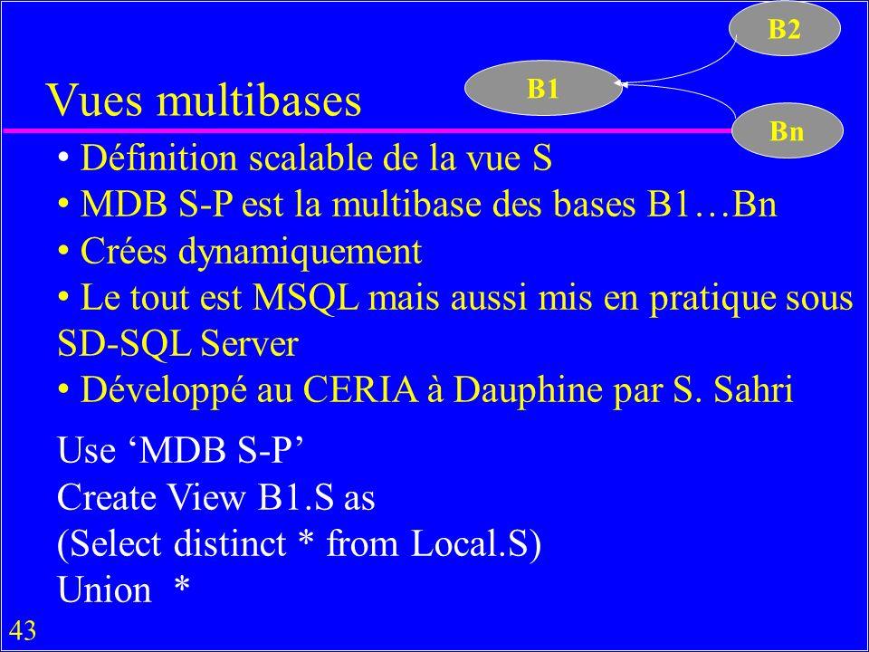 43 Vues multibases Définition scalable de la vue S MDB S-P est la multibase des bases B1…Bn Crées dynamiquement Le tout est MSQL mais aussi mis en pratique sous SD-SQL Server Développé au CERIA à Dauphine par S.