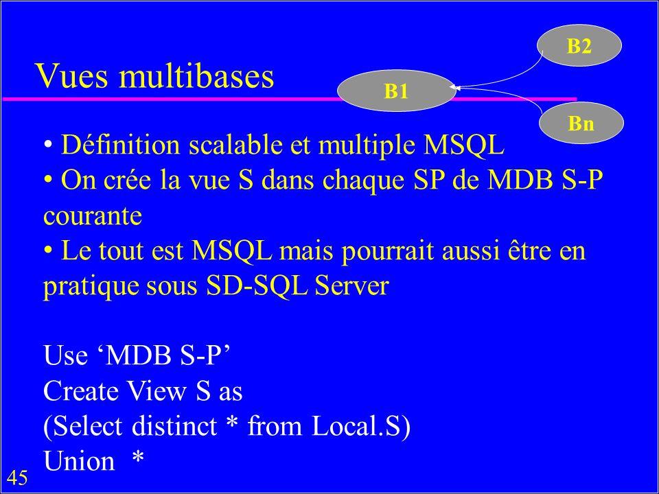 45 Vues multibases Définition scalable et multiple MSQL On crée la vue S dans chaque SP de MDB S-P courante Le tout est MSQL mais pourrait aussi être en pratique sous SD-SQL Server Use MDB S-P Create View S as (Select distinct * from Local.S) Union * B1 B2 Bn
