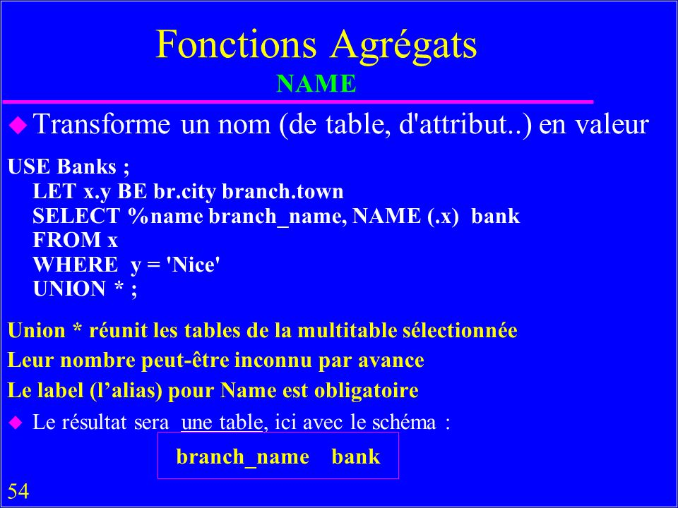 54 Fonctions Agrégats NAME u Transforme un nom (de table, d attribut..) en valeur USE Banks ; LET x.y BE br.city branch.town SELECT %name branch_name, NAME (.x) bank FROM x WHERE y = Nice UNION * ; Union * réunit les tables de la multitable sélectionnée Leur nombre peut-être inconnu par avance Le label (lalias) pour Name est obligatoire u Le résultat sera une table, ici avec le schéma : branch_name bank