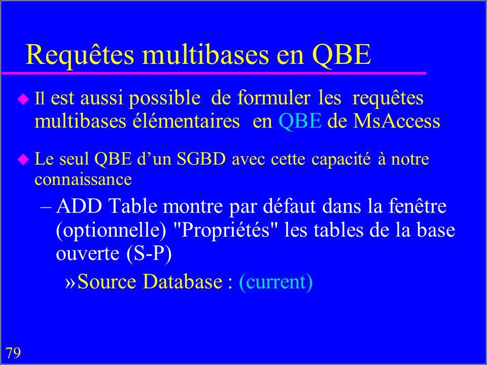 79 Requêtes multibases en QBE u Il est aussi possible de formuler les requêtes multibases élémentaires en QBE de MsAccess u Le seul QBE dun SGBD avec cette capacité à notre connaissance –ADD Table montre par défaut dans la fenêtre (optionnelle) Propriétés les tables de la base ouverte (S-P) »Source Database : (current)