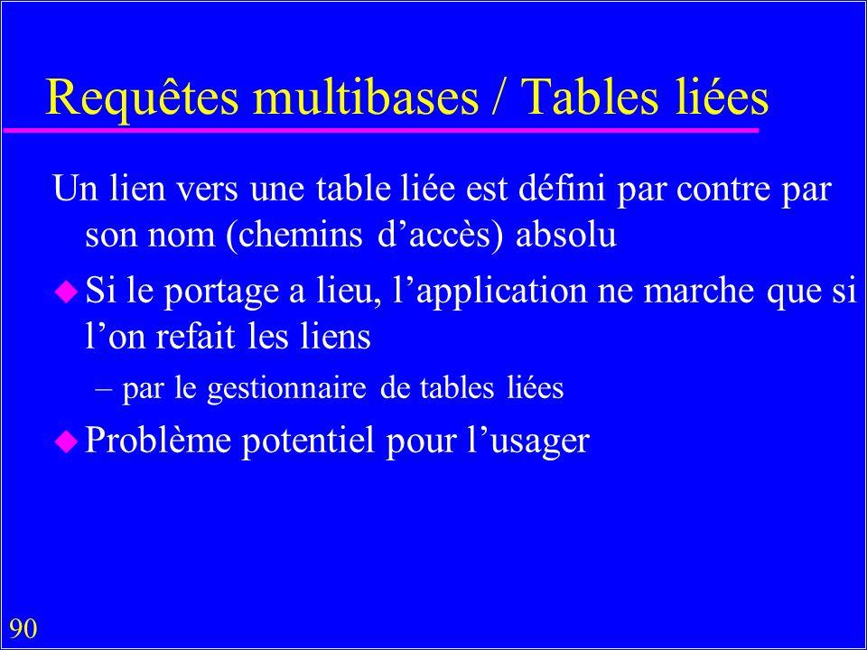 90 Requêtes multibases / Tables liées Un lien vers une table liée est défini par contre par son nom (chemins daccès) absolu u Si le portage a lieu, lapplication ne marche que si lon refait les liens –par le gestionnaire de tables liées u Problème potentiel pour lusager