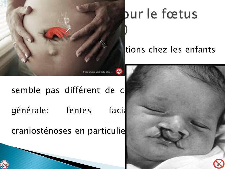 Le taux global de malformations chez les enfants de femmes fumeuses en cours de grossesse ne semble pas différent de celui de la population générale: fentes faciales, gastroschisis, craniosténoses en particulier.