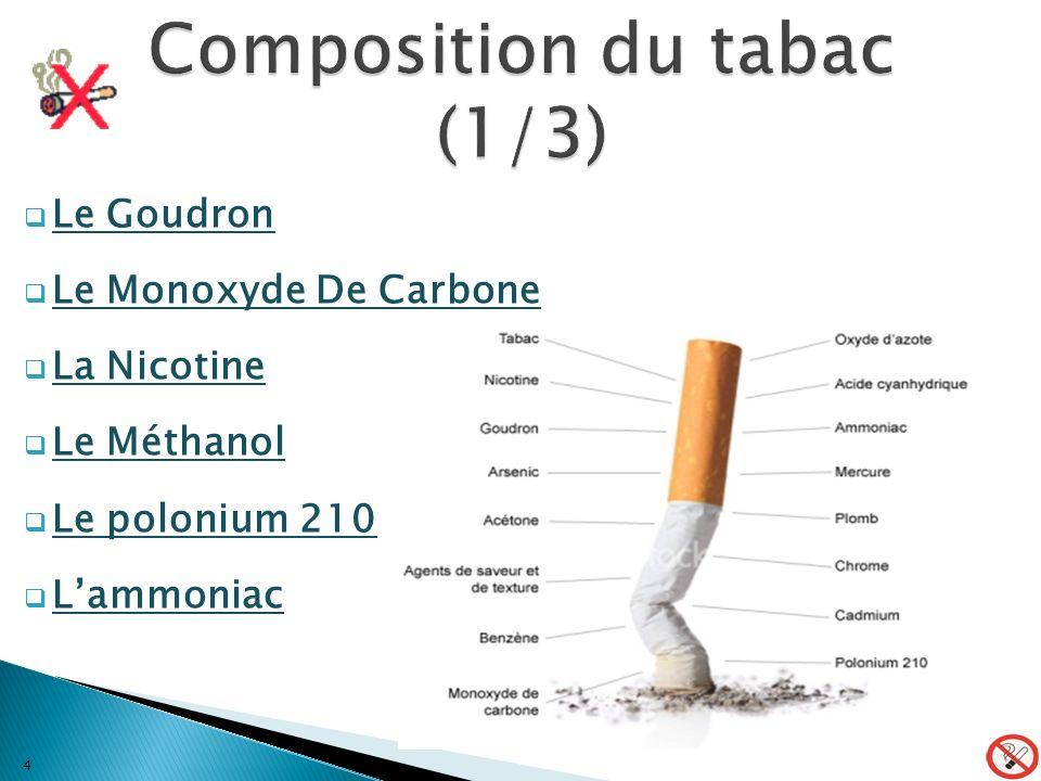 Le Goudron Le Monoxyde De Carbone La Nicotine Le Méthanol Le polonium 210 Lammoniac 4