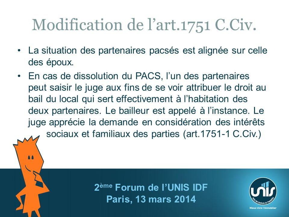 Modification de lart.1751 C.Civ.