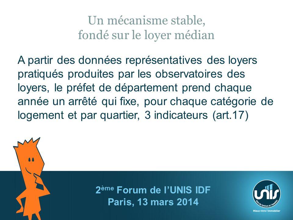 Un mécanisme stable, fondé sur le loyer médian A partir des données représentatives des loyers pratiqués produites par les observatoires des loyers, le préfet de département prend chaque année un arrêté qui fixe, pour chaque catégorie de logement et par quartier, 3 indicateurs (art.17) 2 ème Forum de lUNIS IDF Paris, 13 mars 2014