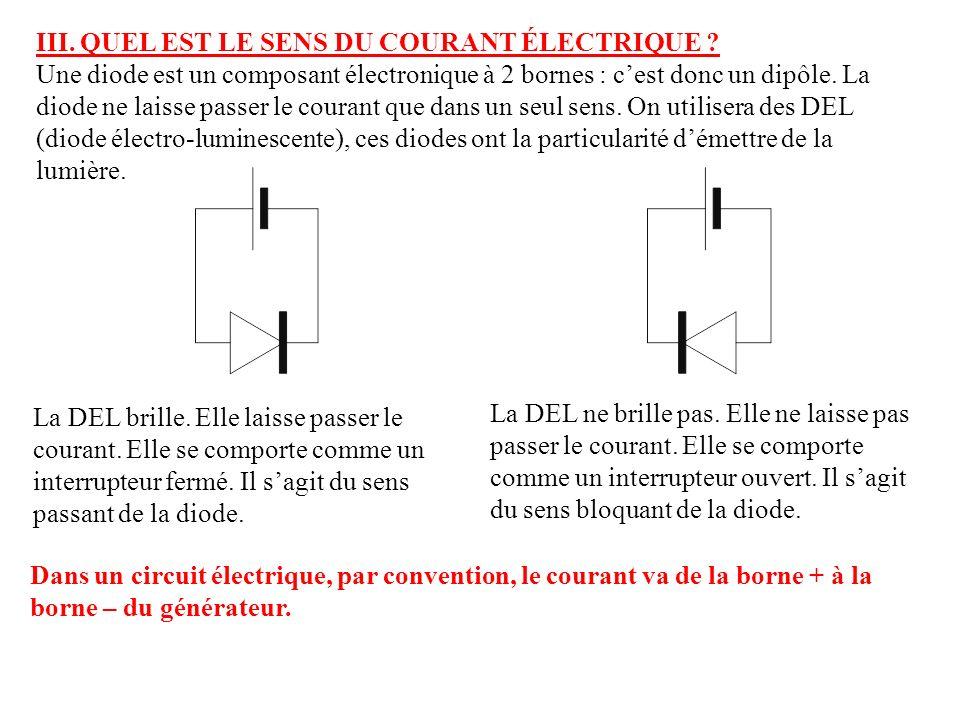 III. QUEL EST LE SENS DU COURANT ÉLECTRIQUE ? Une diode est un composant électronique à 2 bornes : cest donc un dipôle. La diode ne laisse passer le c