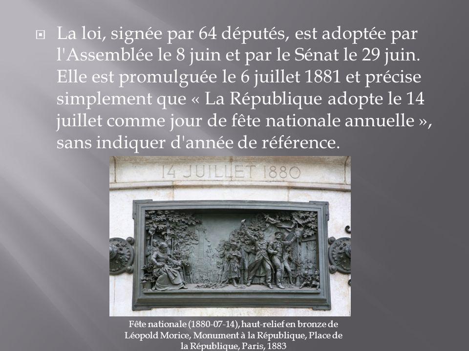 La loi, signée par 64 députés, est adoptée par l'Assemblée le 8 juin et par le Sénat le 29 juin. Elle est promulguée le 6 juillet 1881 et précise simp