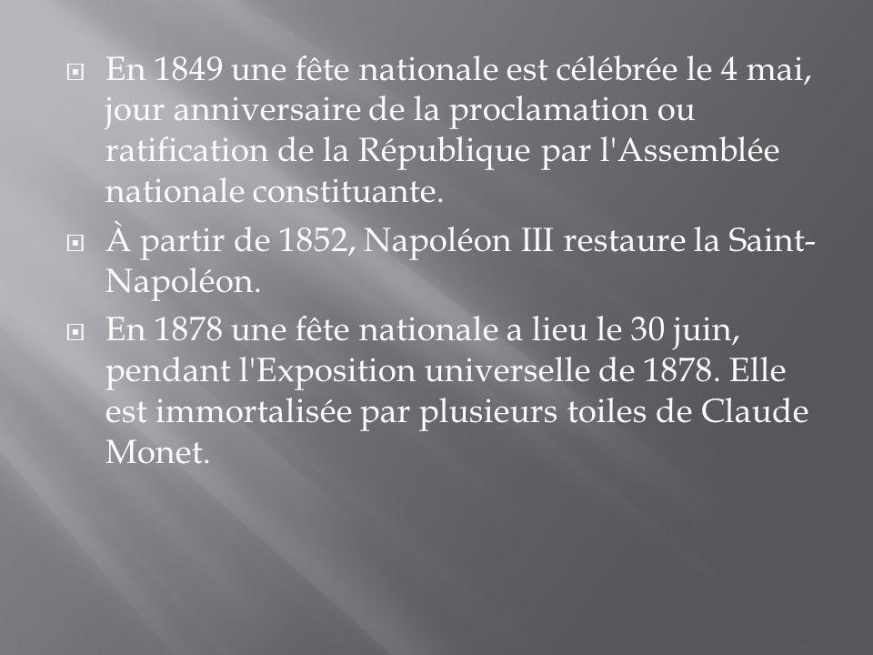 En 1849 une fête nationale est célébrée le 4 mai, jour anniversaire de la proclamation ou ratification de la République par l'Assemblée nationale cons