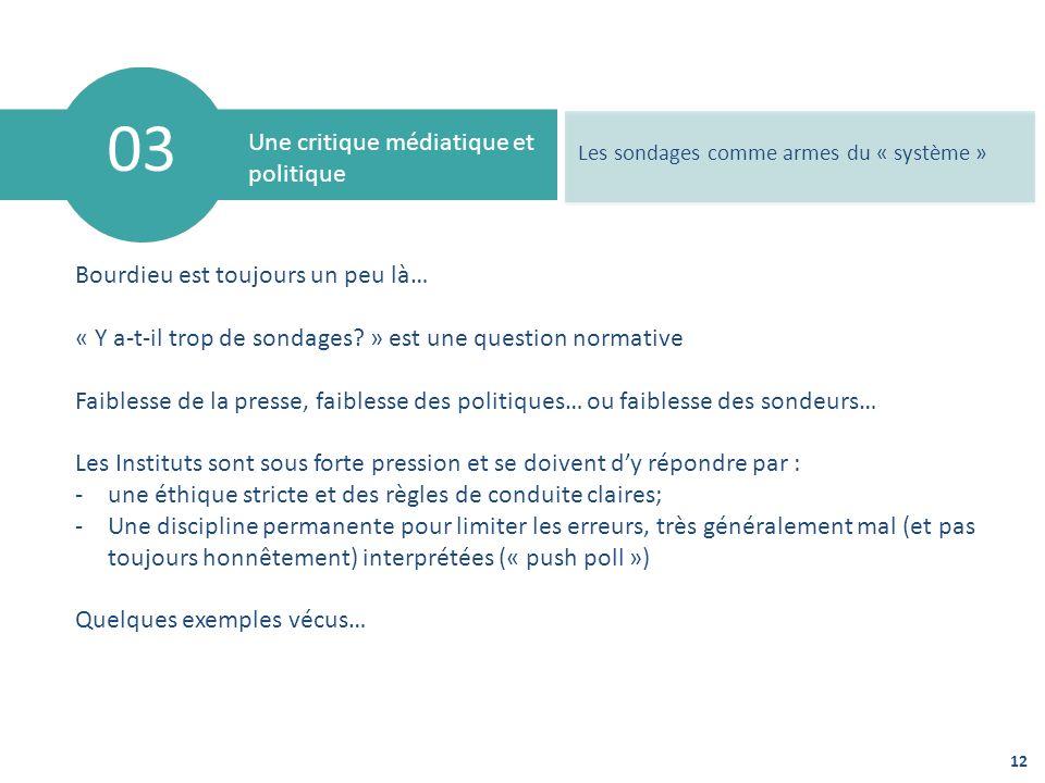 12 03 Une critique médiatique et politique Les sondages comme armes du « système » Bourdieu est toujours un peu là… « Y a-t-il trop de sondages? » est