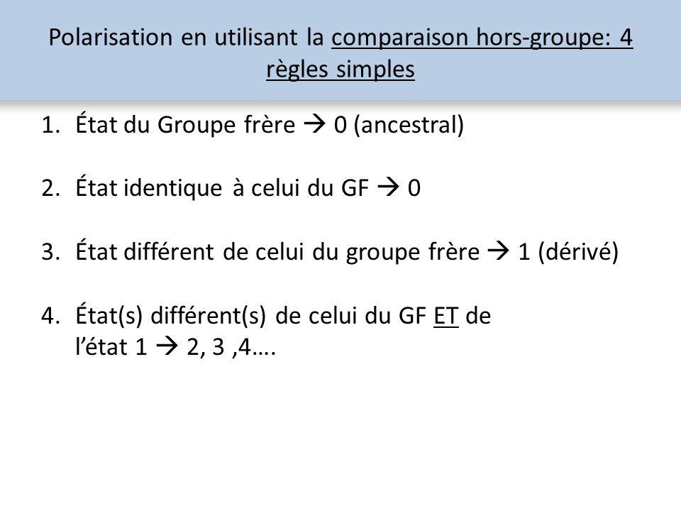 Polarisation en utilisant la comparaison hors-groupe: 4 règles simples 1.État du Groupe frère 0 (ancestral) 2.État identique à celui du GF 0 3.État di