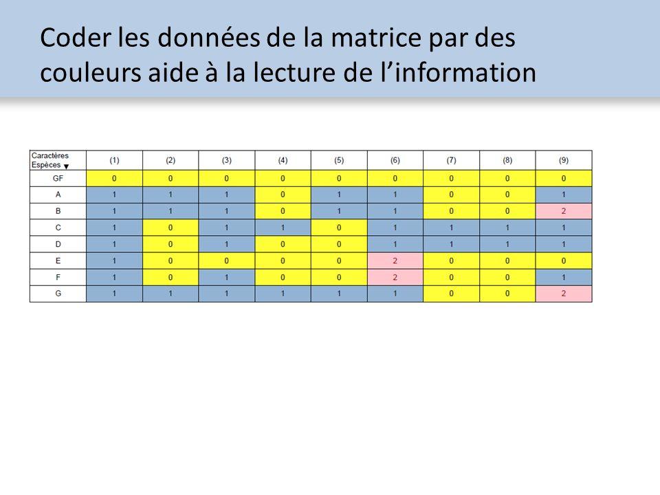 Coder les données de la matrice par des couleurs aide à la lecture de linformation