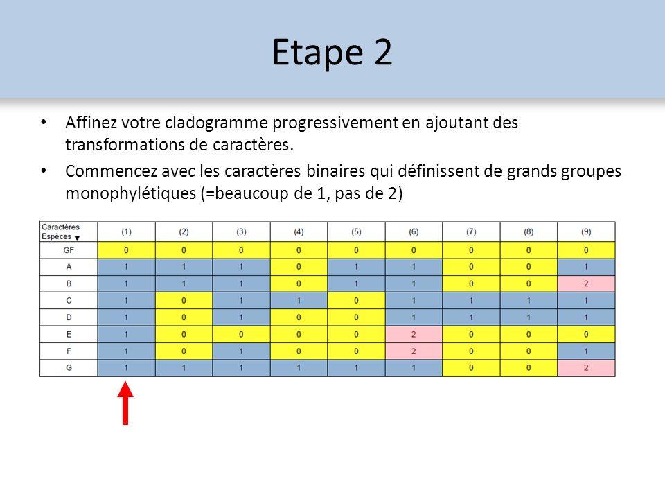 Etape 2 Affinez votre cladogramme progressivement en ajoutant des transformations de caractères. Commencez avec les caractères binaires qui définissen