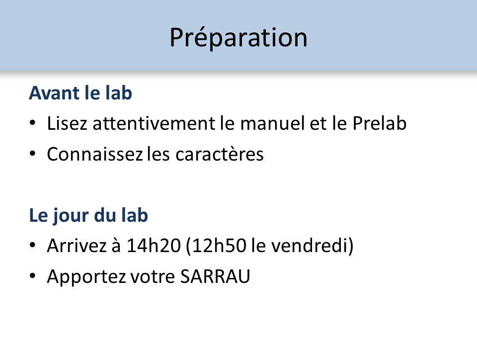Préparation Avant le lab Lisez attentivement le manuel et le Prelab Connaissez les caractères Le jour du lab Arrivez à 14h20 (12h50 le vendredi) Appor