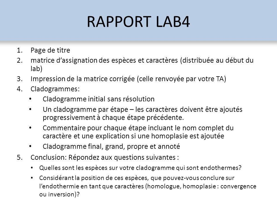 RAPPORT LAB4 1.Page de titre 2.matrice dassignation des espèces et caractères (distribuée au début du lab) 3.Impression de la matrice corrigée (celle