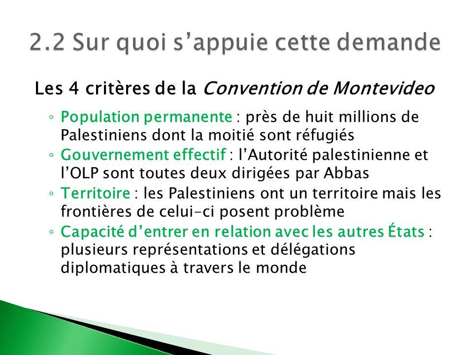 Les 4 critères de la Convention de Montevideo Population permanente : près de huit millions de Palestiniens dont la moitié sont réfugiés Gouvernement
