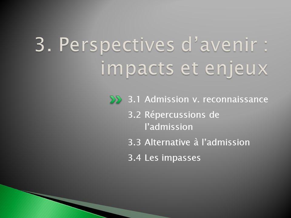 3.1 Admission v. reconnaissance 3.2 Répercussions de ladmission 3.3 Alternative à ladmission 3.4 Les impasses