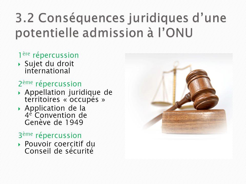 1 ère répercussion Sujet du droit international 2 ème répercussion Appellation juridique de territoires « occupés » Application de la 4 e Convention d