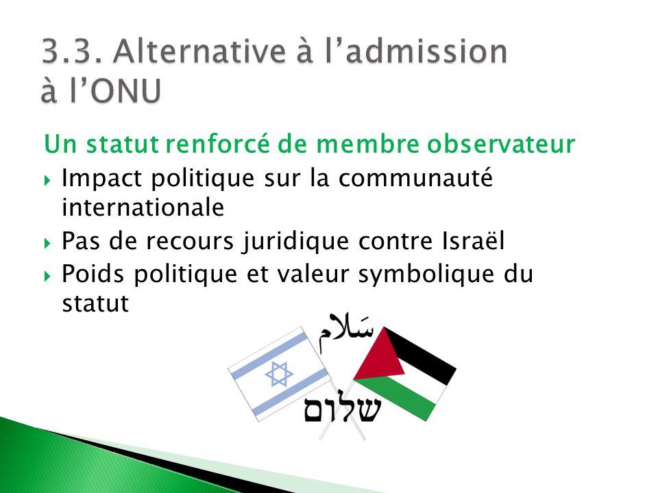 Un statut renforcé de membre observateur Impact politique sur la communauté internationale Pas de recours juridique contre Israël Poids politique et v