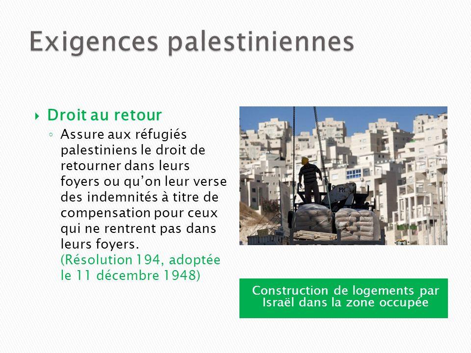 Construction de logements par Israël dans la zone occupée Droit au retour Assure aux réfugiés palestiniens le droit de retourner dans leurs foyers ou