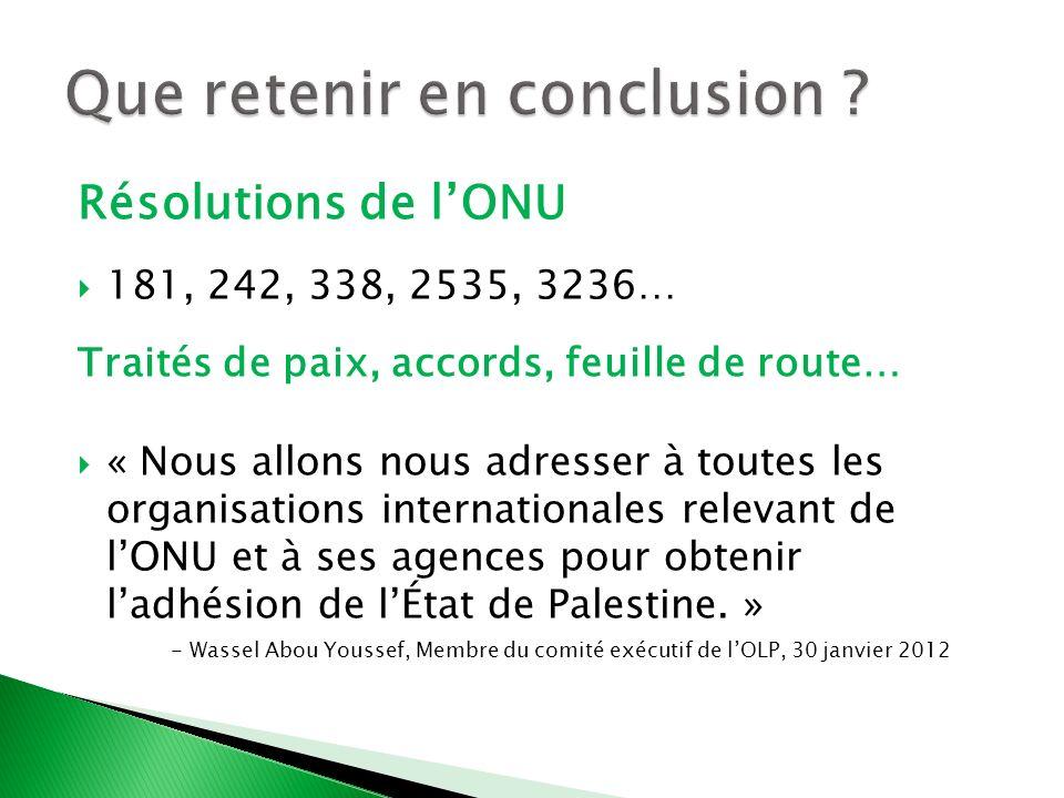 Résolutions de lONU 181, 242, 338, 2535, 3236… Traités de paix, accords, feuille de route… « Nous allons nous adresser à toutes les organisations inte