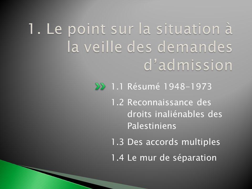 1.1 Résumé 1948-1973 1.2 Reconnaissance des droits inaliénables des Palestiniens 1.3 Des accords multiples 1.4 Le mur de séparation