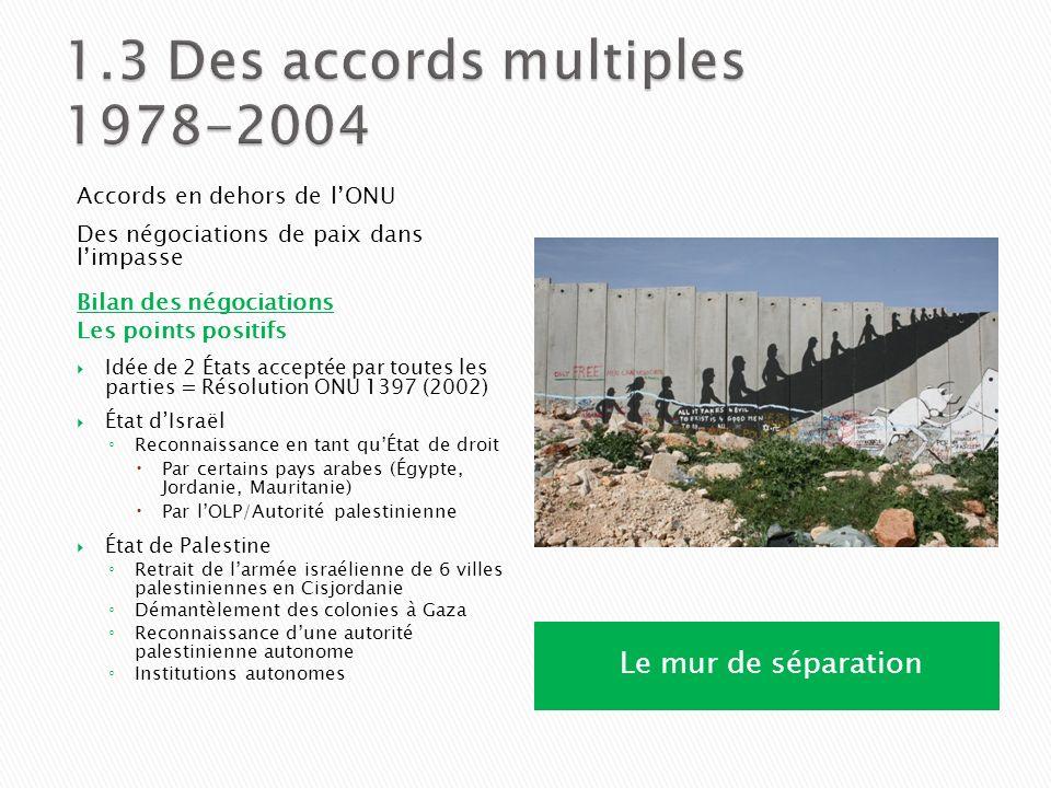 Les points négatifs Intifadas, attentats, roquettes Opérations militaires, expansion des colonies Le mur de sécurité = Avis de la C.I.J.