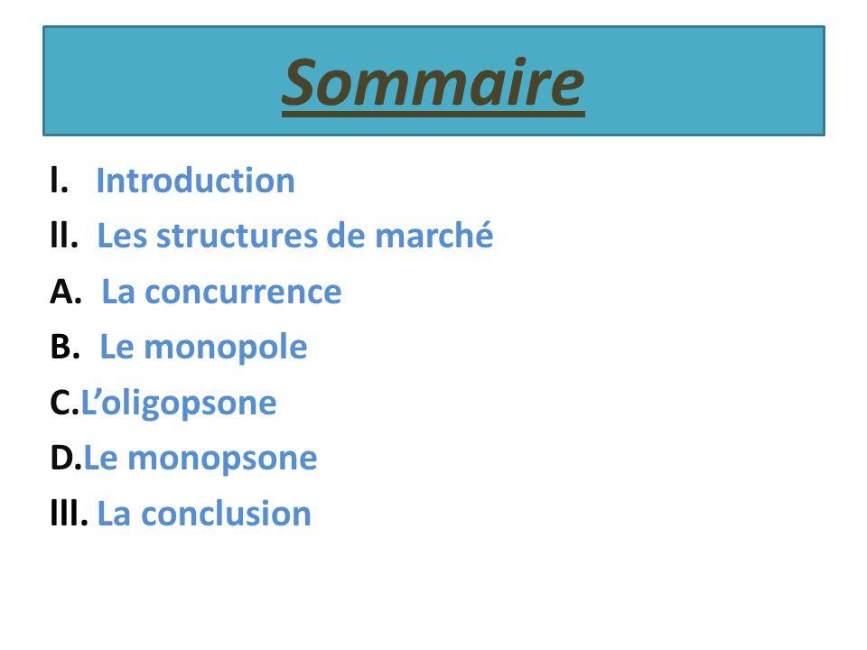 Sommaire l. Introduction ll. Les structures de marché A. La concurrence B. Le monopole C.Loligopsone D.Le monopsone lll. La conclusion