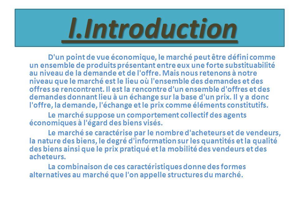 l.Introduction l.Introduction D'un point de vue économique, le marché peut être défini comme un ensemble de produits présentant entre eux une forte su