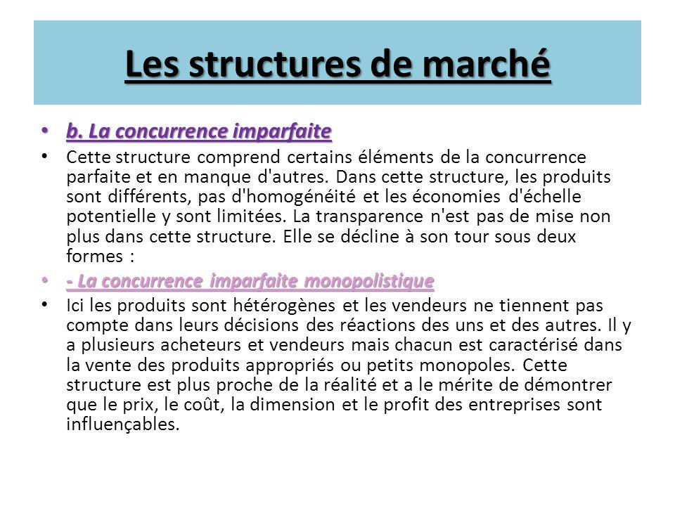 Les structures de marché b. La concurrence imparfaite b. La concurrence imparfaite Cette structure comprend certains éléments de la concurrence parfai
