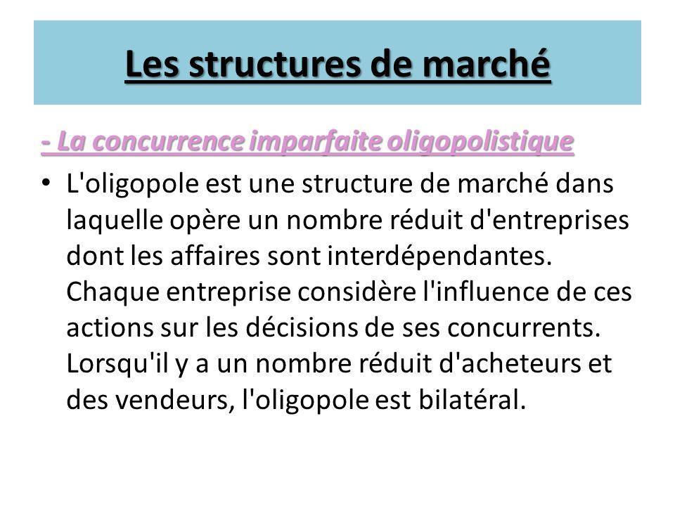 Les structures de marché - La concurrence imparfaite oligopolistique L'oligopole est une structure de marché dans laquelle opère un nombre réduit d'en