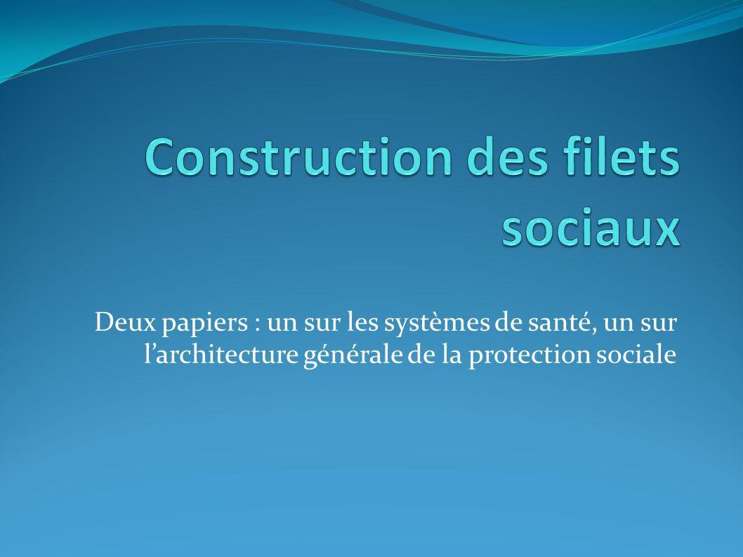 Deux papiers : un sur les systèmes de santé, un sur larchitecture générale de la protection sociale