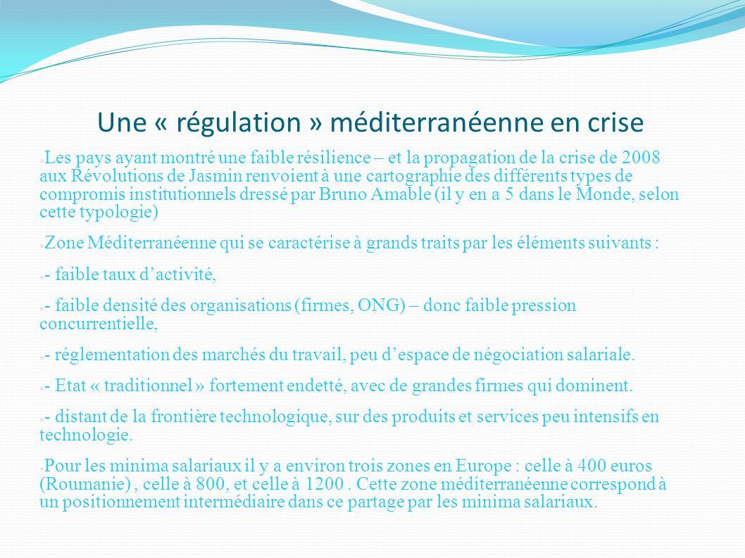 Une « régulation » méditerranéenne en crise Les pays ayant montré une faible résilience – et la propagation de la crise de 2008 aux Révolutions de Jas