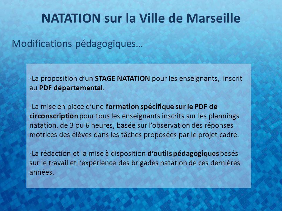 NATATION sur la Ville de Marseille Modifications pédagogiques… -La proposition dun STAGE NATATION pour les enseignants, inscrit au PDF départemental.