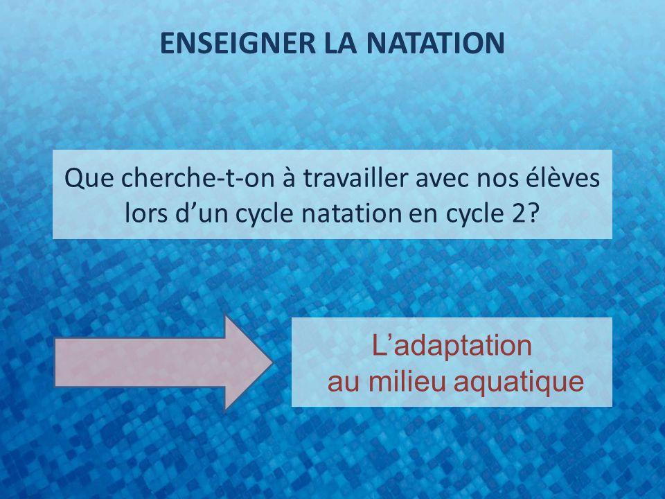 Que cherche-t-on à travailler avec nos élèves lors dun cycle natation en cycle 2? Ladaptation au milieu aquatique ENSEIGNER LA NATATION