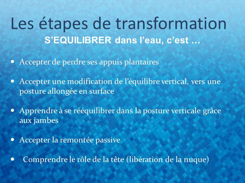 Les étapes de transformation SEQUILIBRER dans leau, cest … Accepter de perdre ses appuis plantaires Accepter une modification de léquilibre vertical,