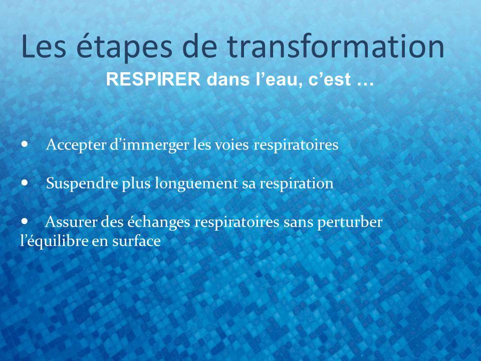 Les étapes de transformation RESPIRER dans leau, cest … Accepter dimmerger les voies respiratoires Suspendre plus longuement sa respiration Assurer des échanges respiratoires sans perturber léquilibre en surface