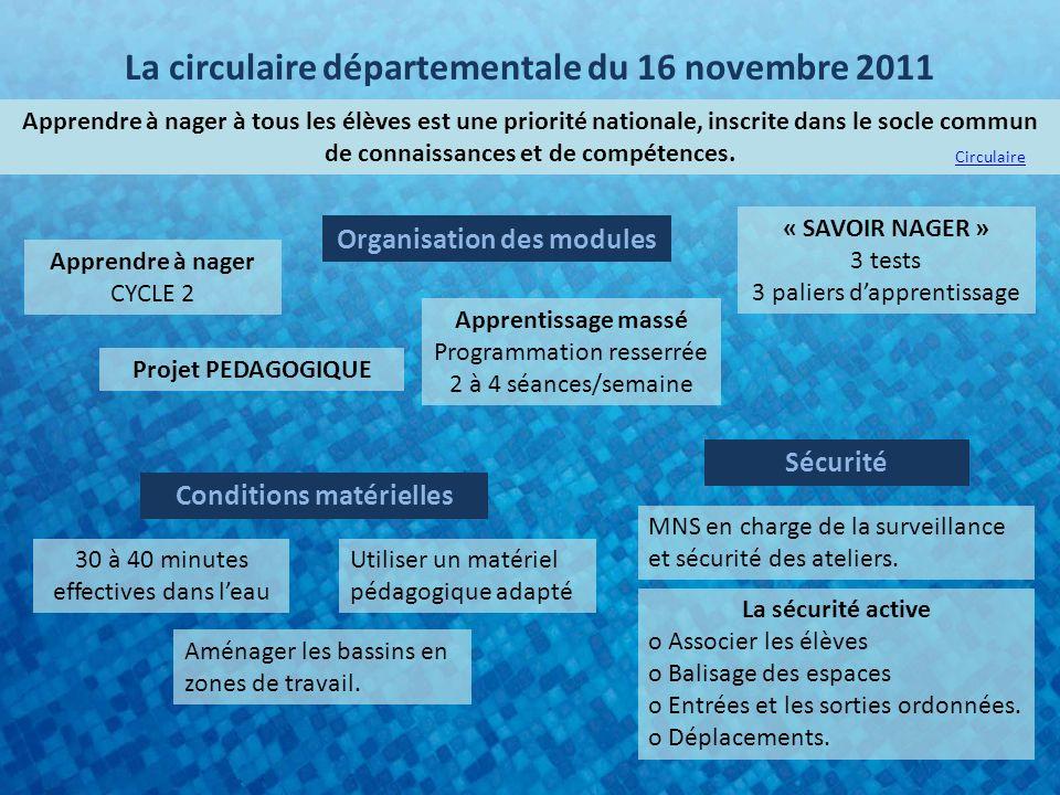 La circulaire départementale du 16 novembre 2011 Apprendre à nager à tous les élèves est une priorité nationale, inscrite dans le socle commun de connaissances et de compétences.