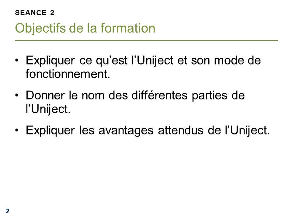 222 Expliquer ce quest lUniject et son mode de fonctionnement. Donner le nom des différentes parties de lUniject. Expliquer les avantages attendus de