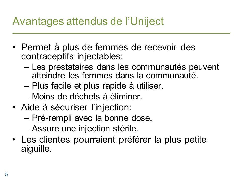 555 Avantages attendus de lUniject Permet à plus de femmes de recevoir des contraceptifs injectables: –Les prestataires dans les communautés peuvent a