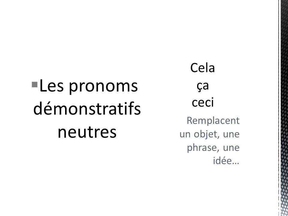 Les pronoms démonstratifs neutres Remplacent un objet, une phrase, une idée…