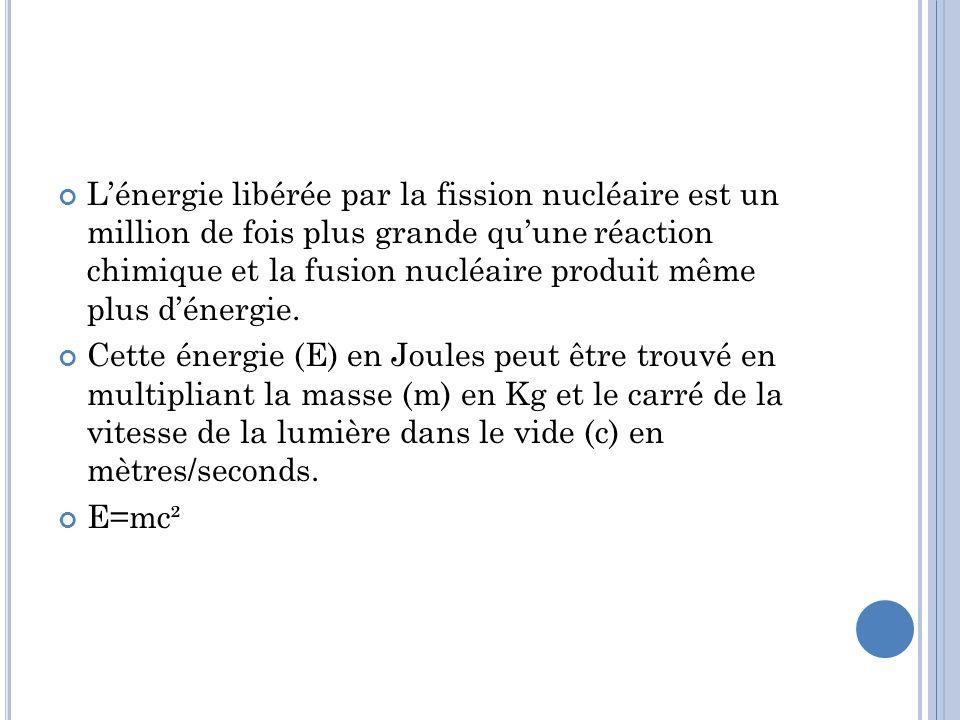 Lénergie libérée par la fission nucléaire est un million de fois plus grande quune réaction chimique et la fusion nucléaire produit même plus dénergie.