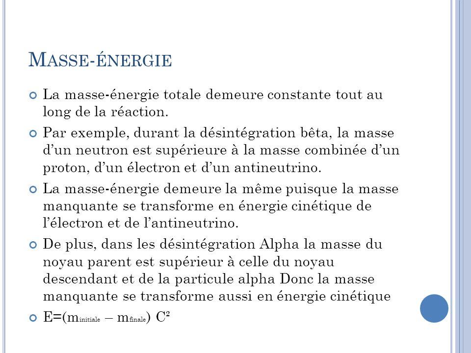 M ASSE - ÉNERGIE La masse-énergie totale demeure constante tout au long de la réaction. Par exemple, durant la désintégration bêta, la masse dun neutr