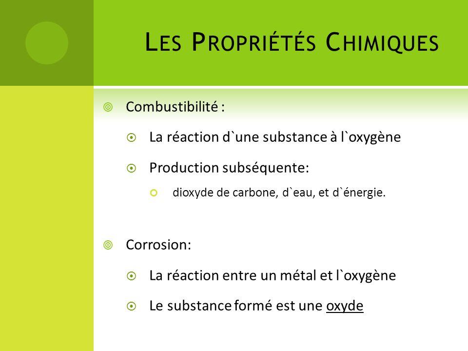 L ES P ROPRIÉTÉS C HIMIQUES Combustibilité : La réaction d`une substance à l`oxygène Production subséquente: dioxyde de carbone, d`eau, et d`énergie.