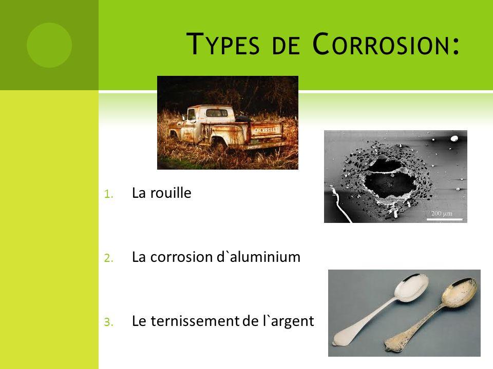 T YPES DE C ORROSION : 1. La rouille 2. La corrosion d`aluminium 3. Le ternissement de l`argent