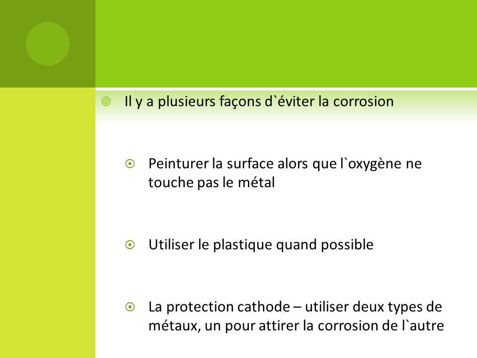 Il y a plusieurs façons d`éviter la corrosion Peinturer la surface alors que l`oxygène ne touche pas le métal Utiliser le plastique quand possible La protection cathode – utiliser deux types de métaux, un pour attirer la corrosion de l`autre