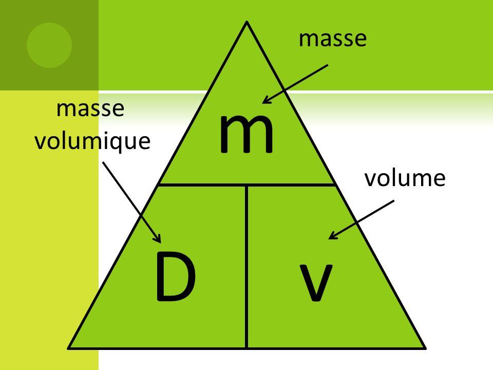 mDvmDv masse volume masse volumique