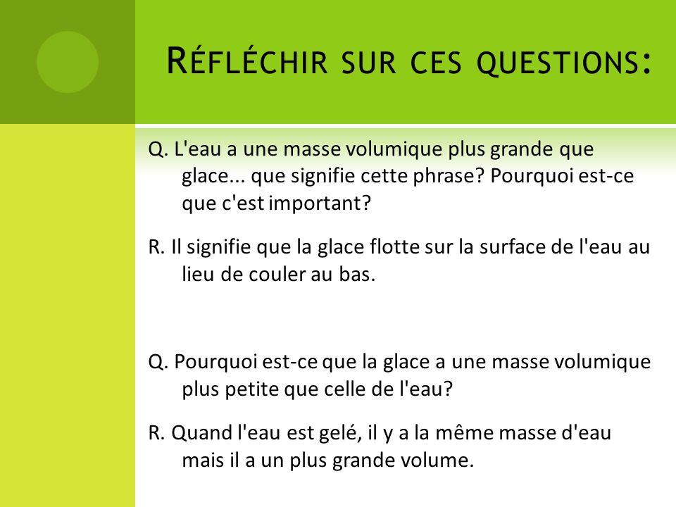 R ÉFLÉCHIR SUR CES QUESTIONS : Q.L eau a une masse volumique plus grande que glace...
